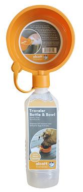 Alcott Cestovné fľaša oranžová s miskou 470 ml